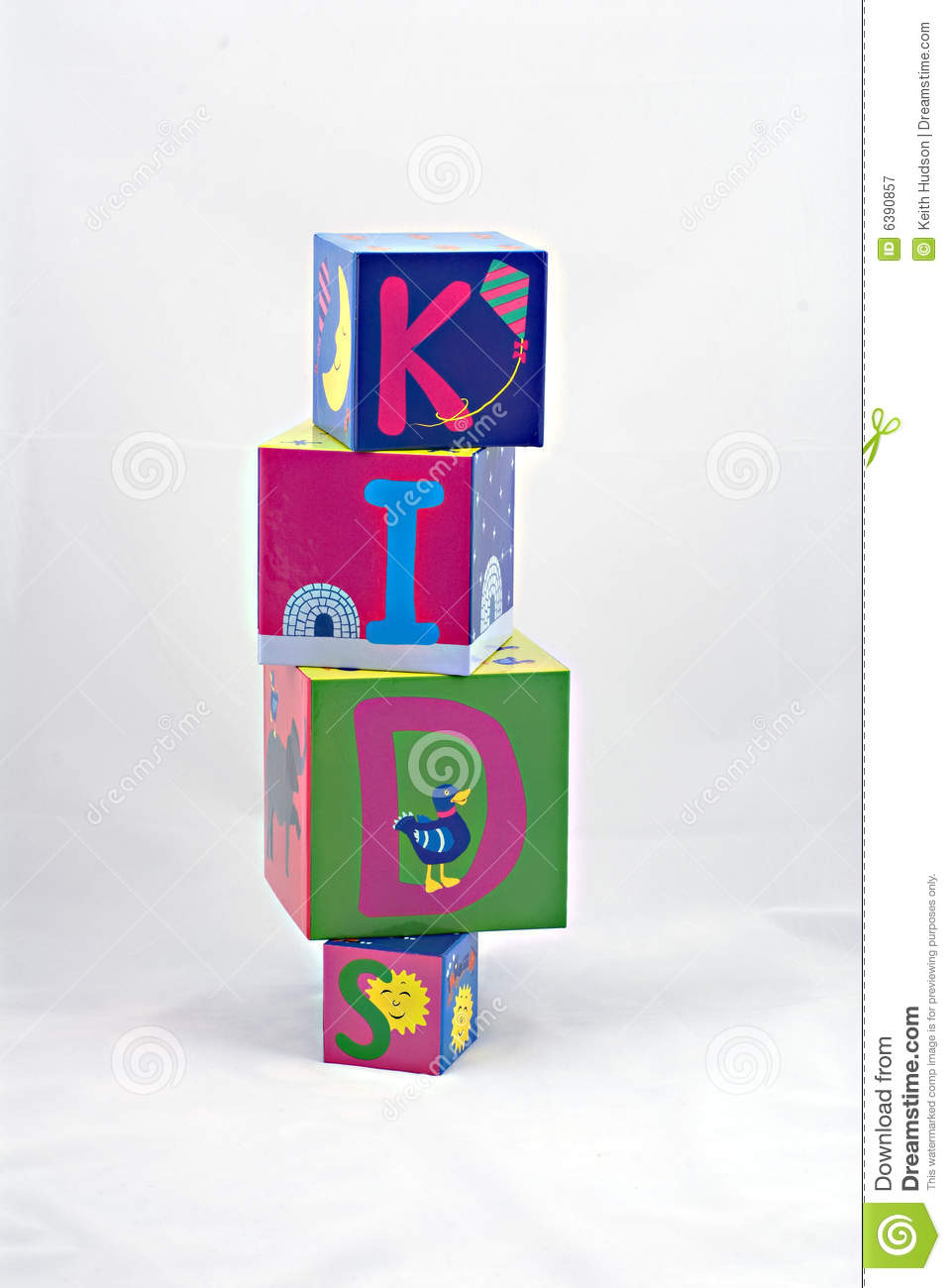 Kids spelled with blocks