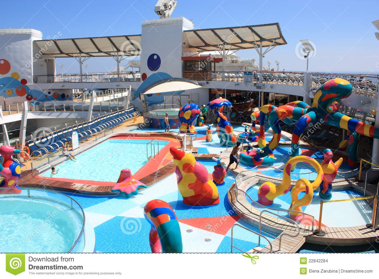 e22c2911b2e The beautiful outdoor Kids pool zone on board the biggest cruise ship in  the world Oasis of the seas owned by Royal Caribbean International