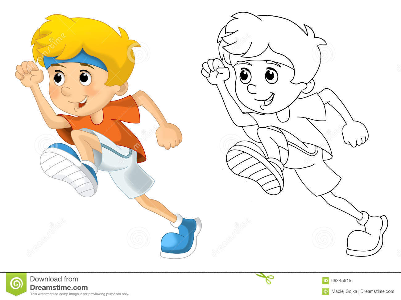 kids and sport gymnastics running coloring page stock illustration image 66345915 Running Silhouette children running clipart