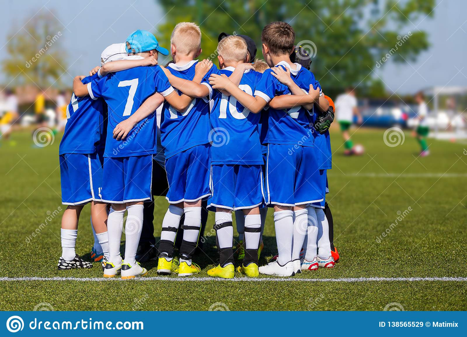 Kids Sport Team Gathering. Children Play Sports. Boys in Sports Jersey Uniforms Having Shout Team