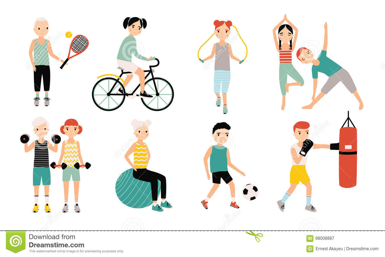 Kids sports activity collection. Exercising children set. Weightlifting, boxing, jumping rope, tennis, football, yoga