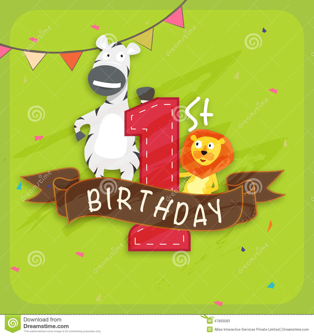 Groovy Kids 1St Birthday Invitation Card Stock Illustration Funny Birthday Cards Online Alyptdamsfinfo