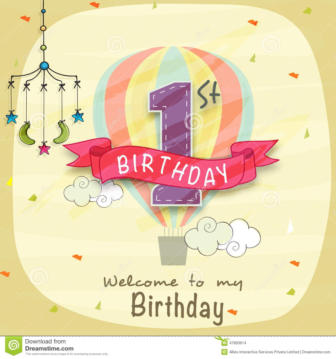 Kids 1st Birthday Invitation Card Design Stock Illustration