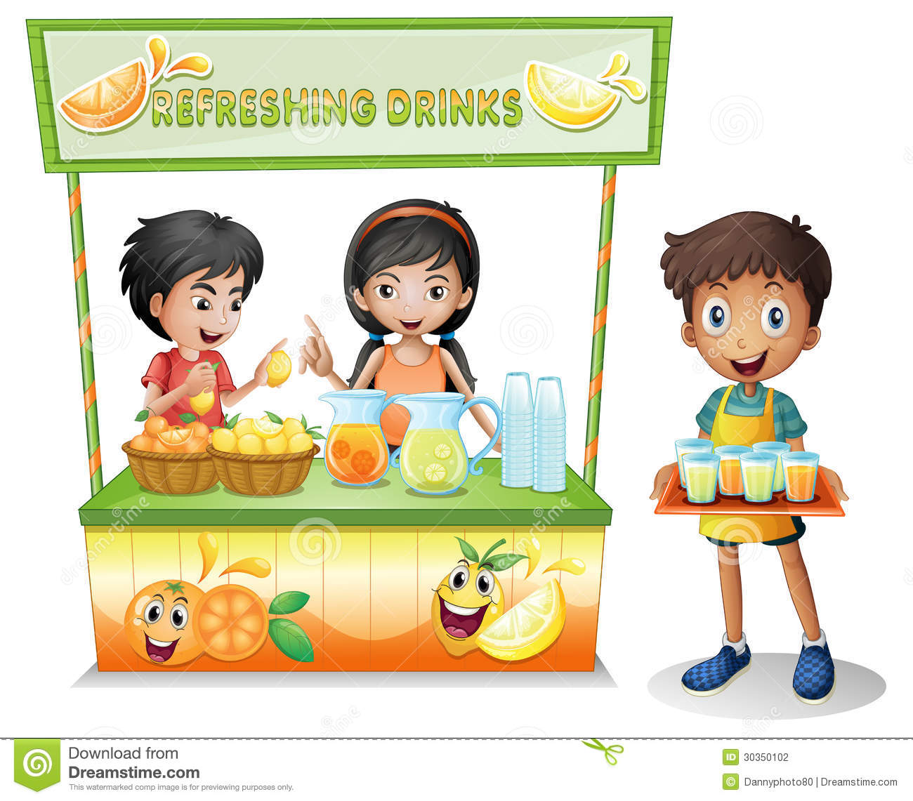 Kids At The Stall Selling Refreshing Drinks Stock Vector ...