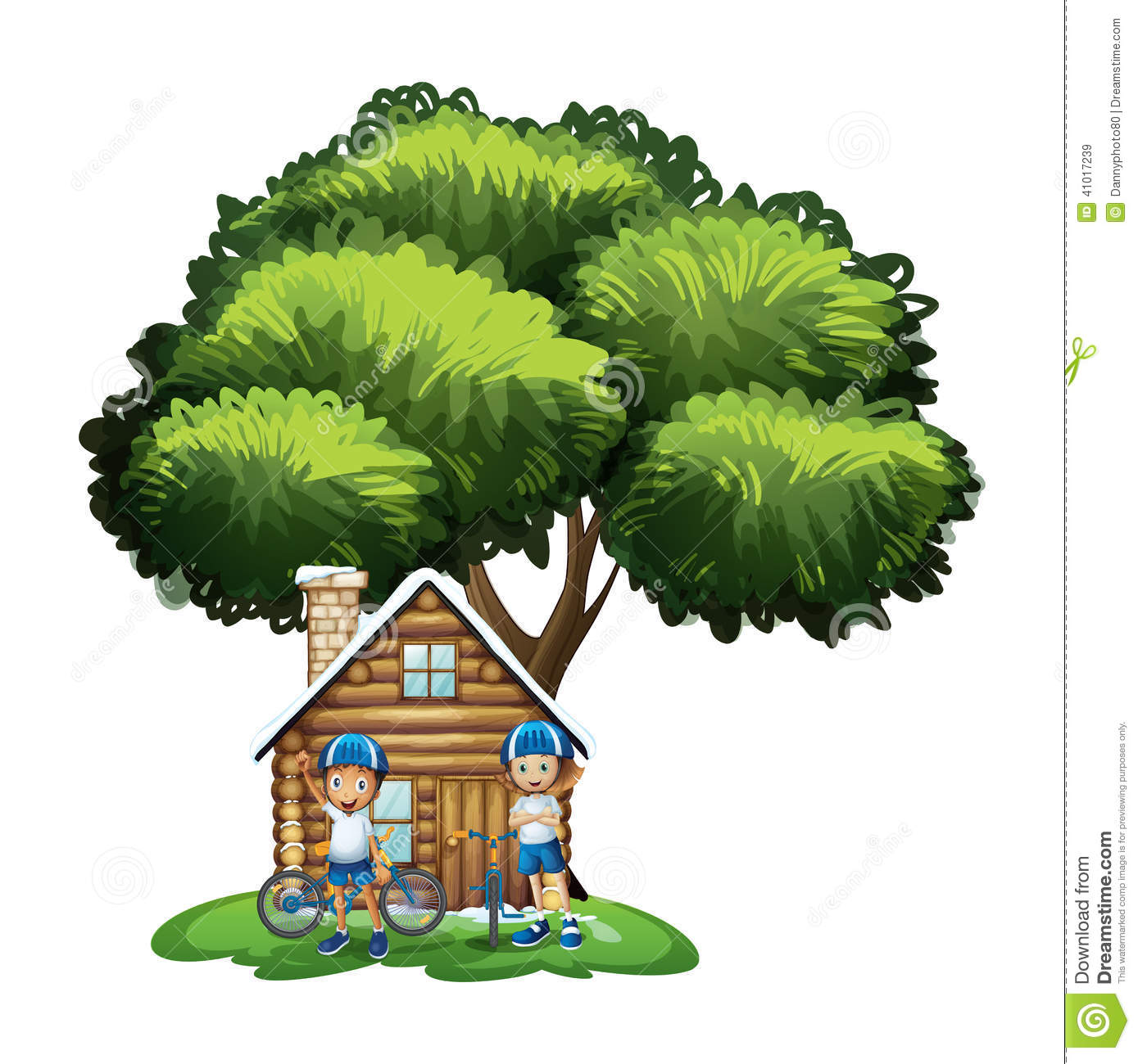Kids Standing Outside The House Under Big Tree Stock