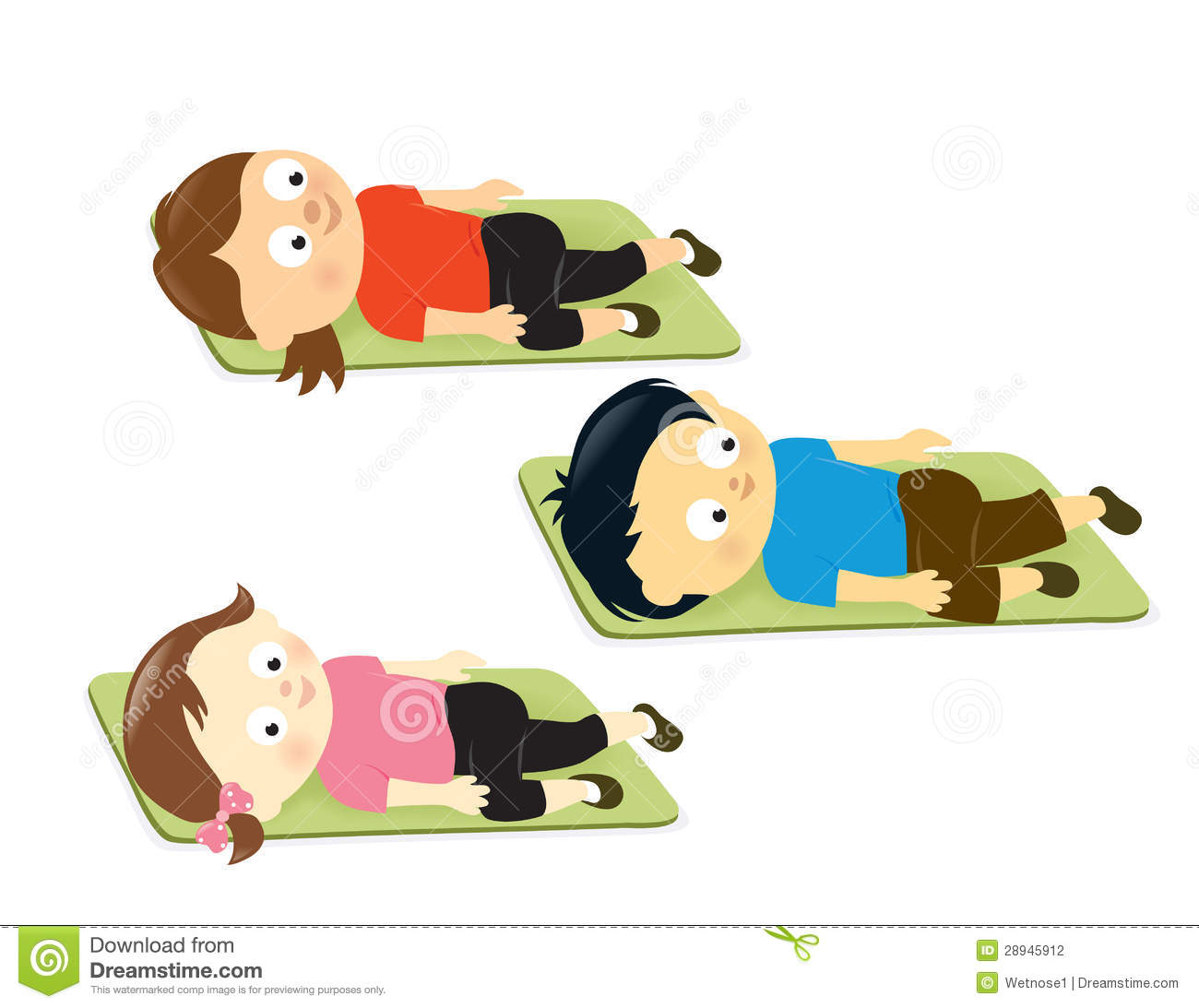Kids Stretching On Mats Stock Vector. Illustration Of