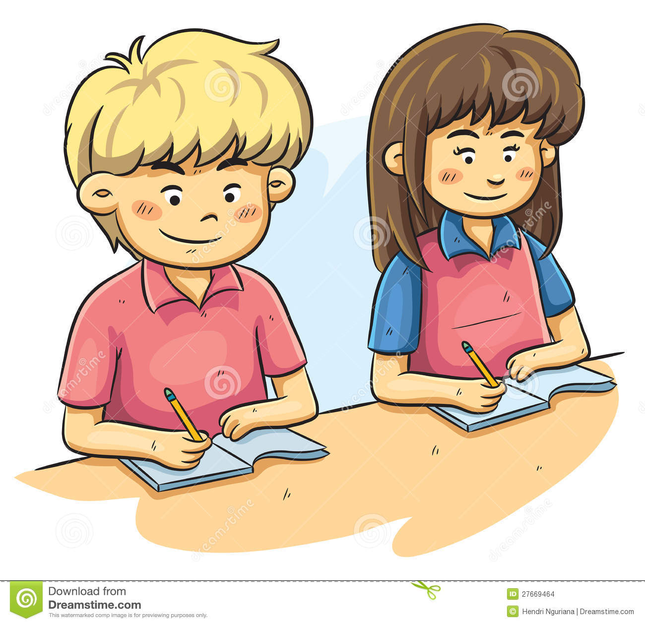 Kids Studying Stock Vector Illustration Of Table Child