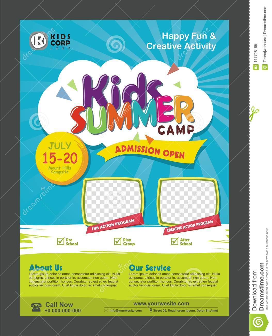 Kids Summer Camp Banner Poster Design Template For Kids Stock Vector