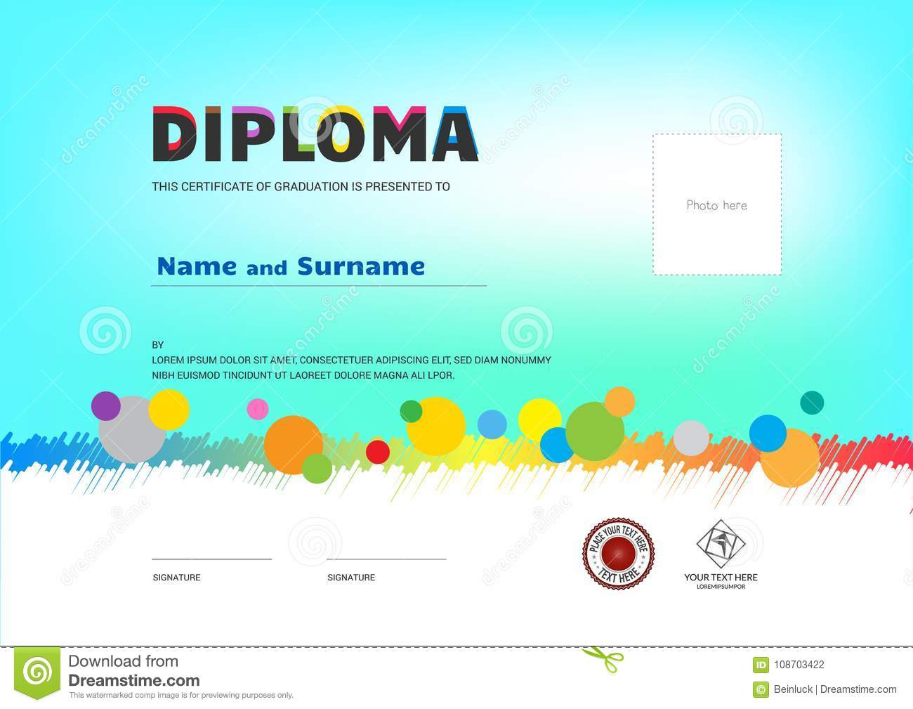 kids summer camp diploma or certificate template award ribbon an