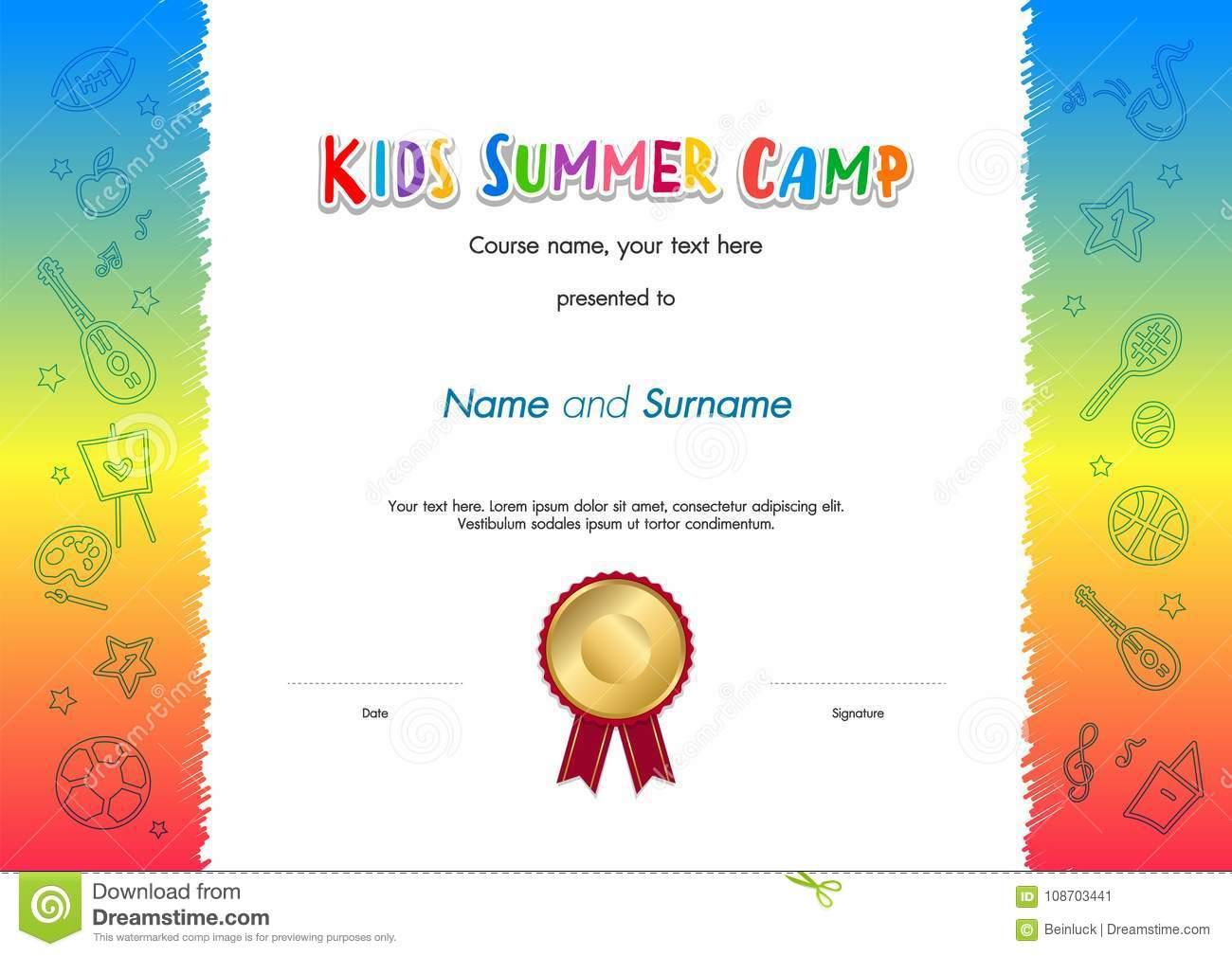 Kids Summer Camp Diploma Or Certificate Template Award Seal With