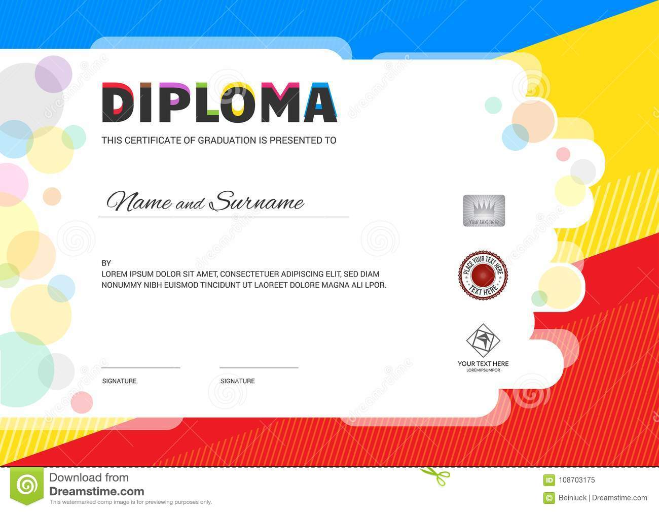 kids summer camp diploma or certificate template with seal