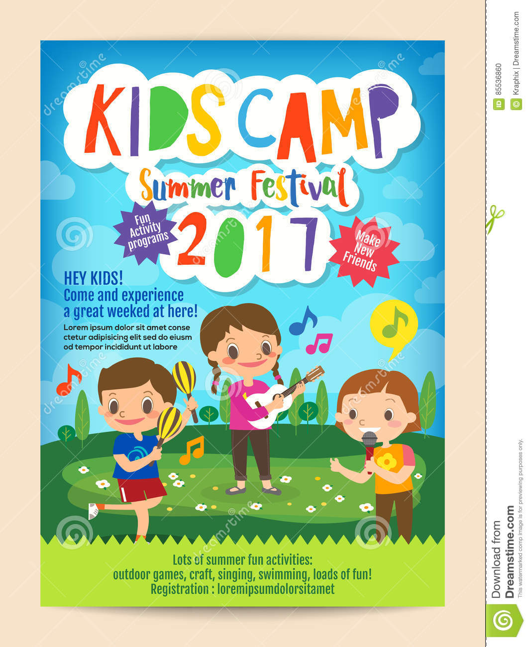 Kids Summer Camp Education Poster Flyer Stock Vector - Image: 85536860