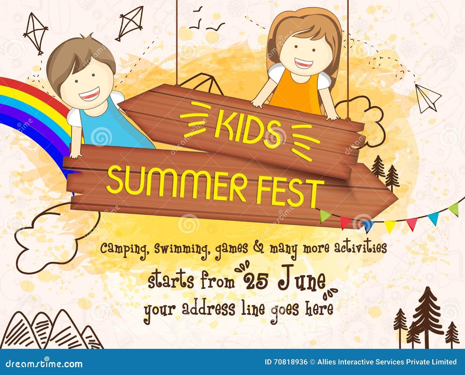Kids Summer Fest Flyer Poster Or Banner Design