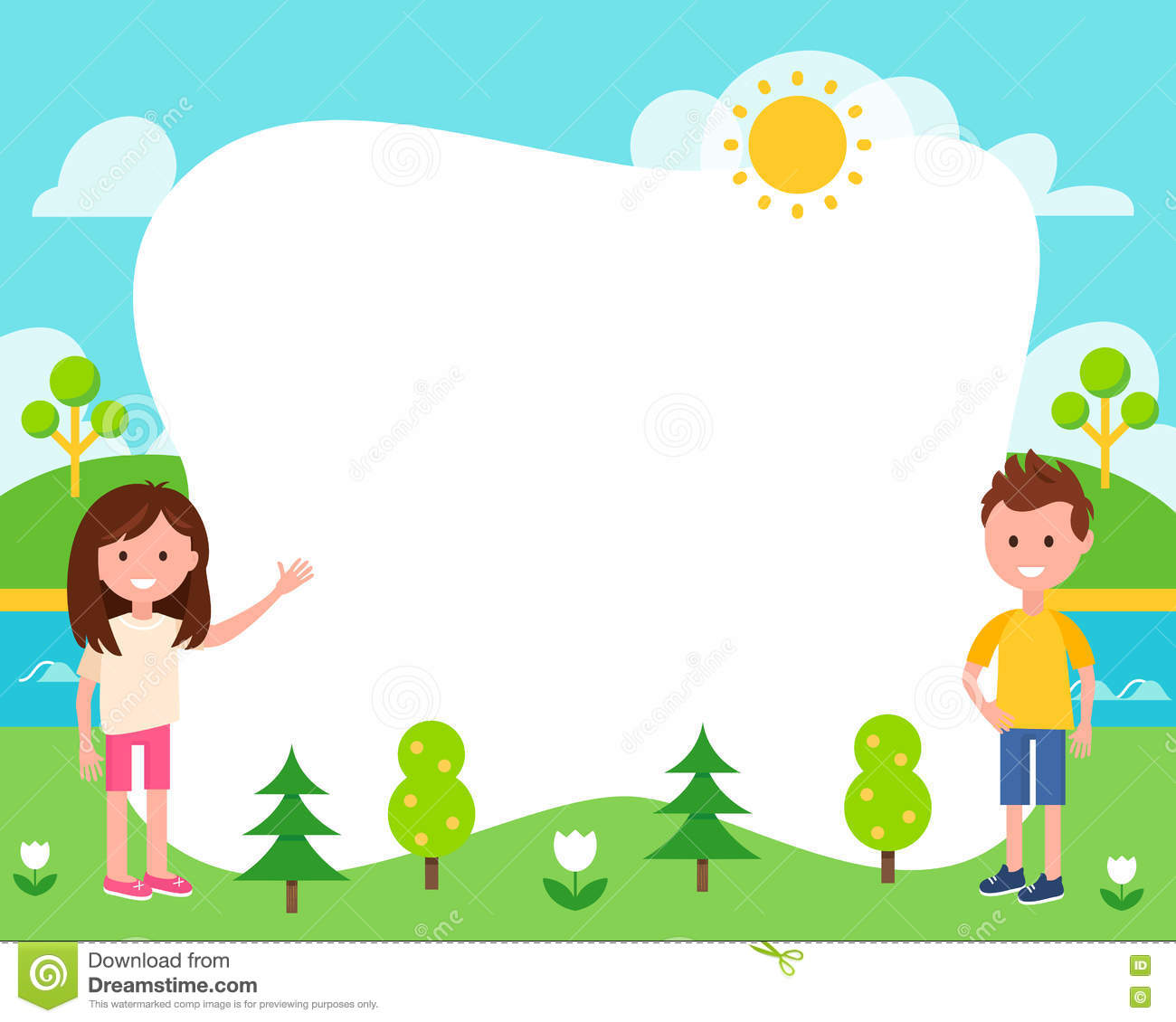 Kids And Summer Landscape Poster Template Stock Vector - Image ...