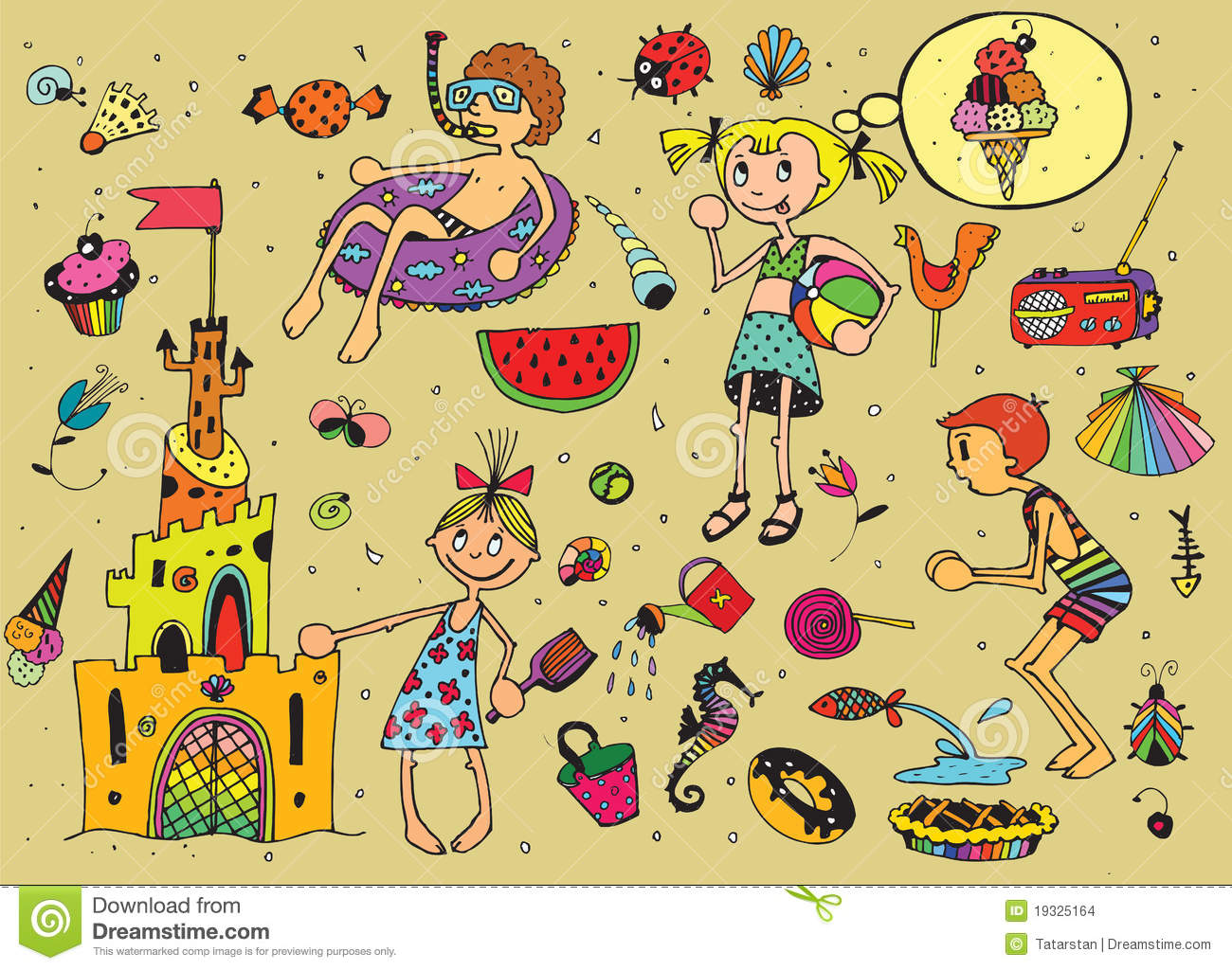 Download Kids On Summer Vacations Stock Vector Illustration Of Girl