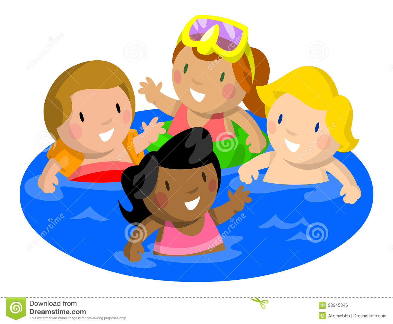 Royalty Free Stock Image Kids Swimming In Pool Image 38645846