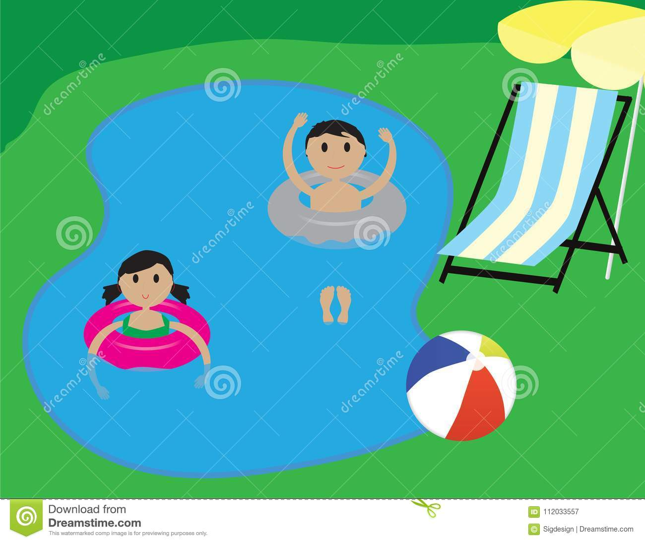 Kids in a swimming pool summer vacation illustration - Swimming pool girl christmas vacation ...