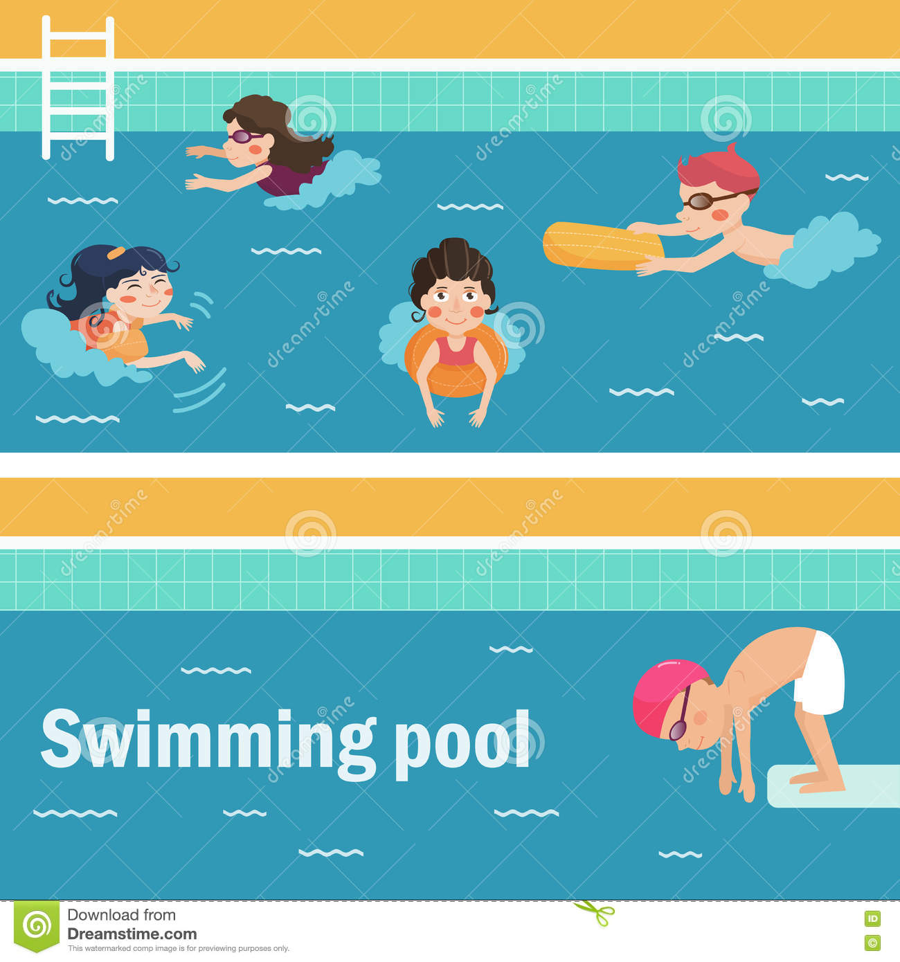 Kids In The Swimming Pool Stock Vector Image 76537331
