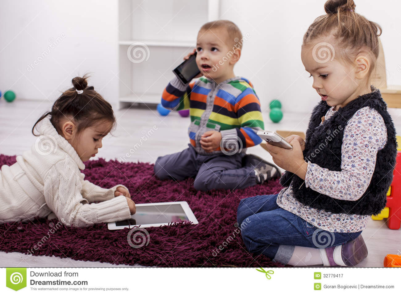 Kids with tablet and phones