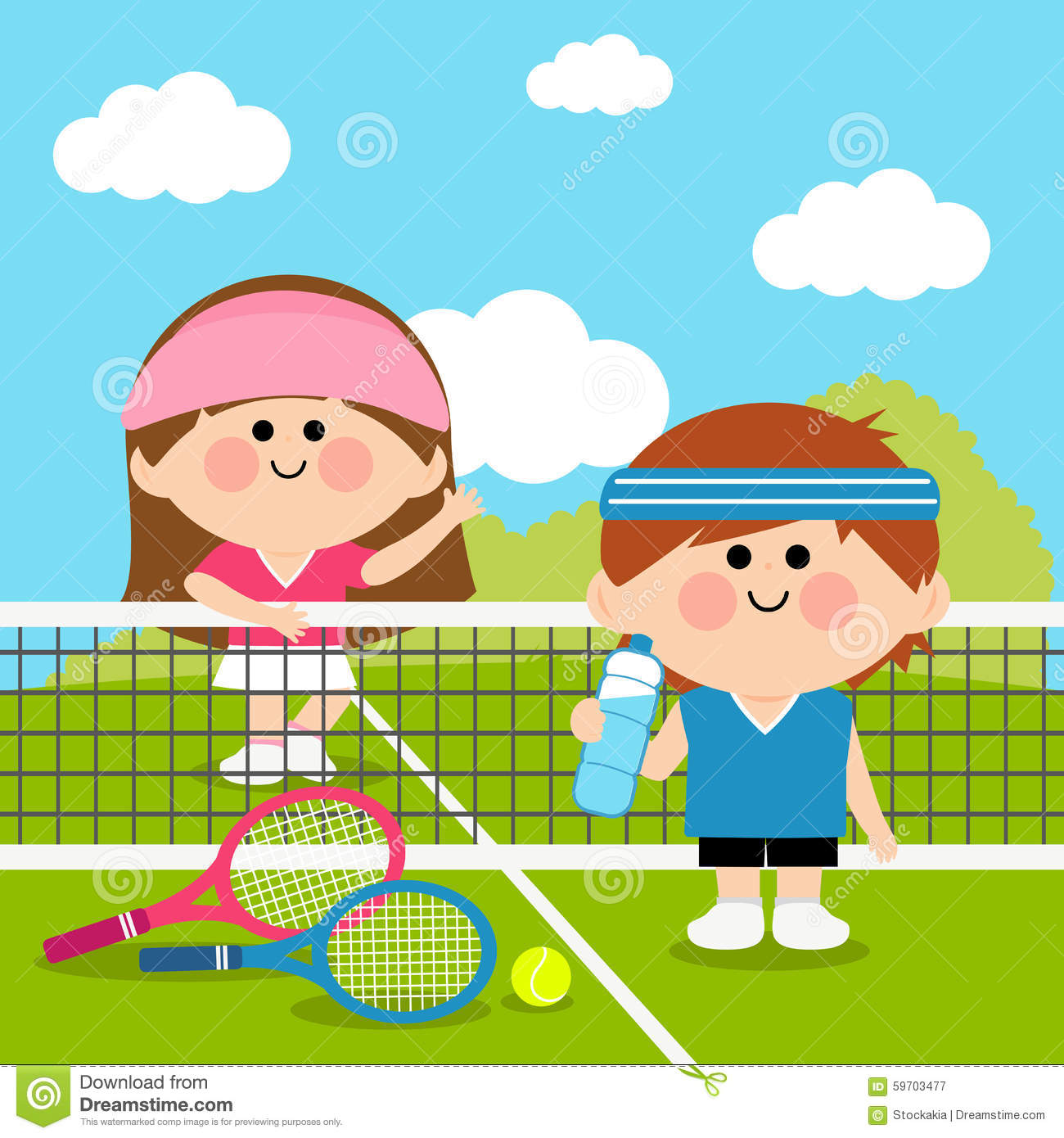 kids tennis players at tennis court taking a break stock Word Racquets Clip Art Racquet Clip Art