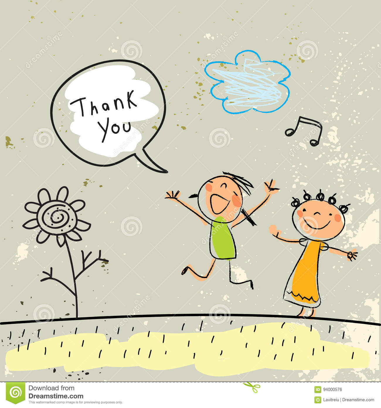 Kids Thank You Card Stock Vector Illustration Of Greeting 94000576