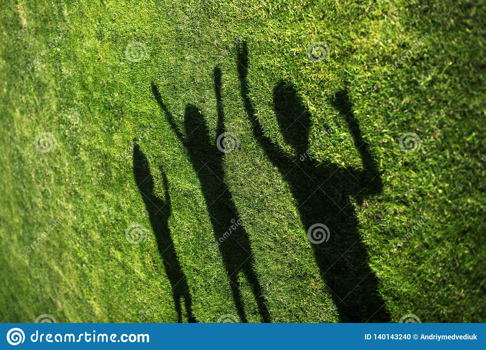 Spring Silhouettes And Shadows >> Kids With Their Shadows On Grass Silhouettes Of Three Persons