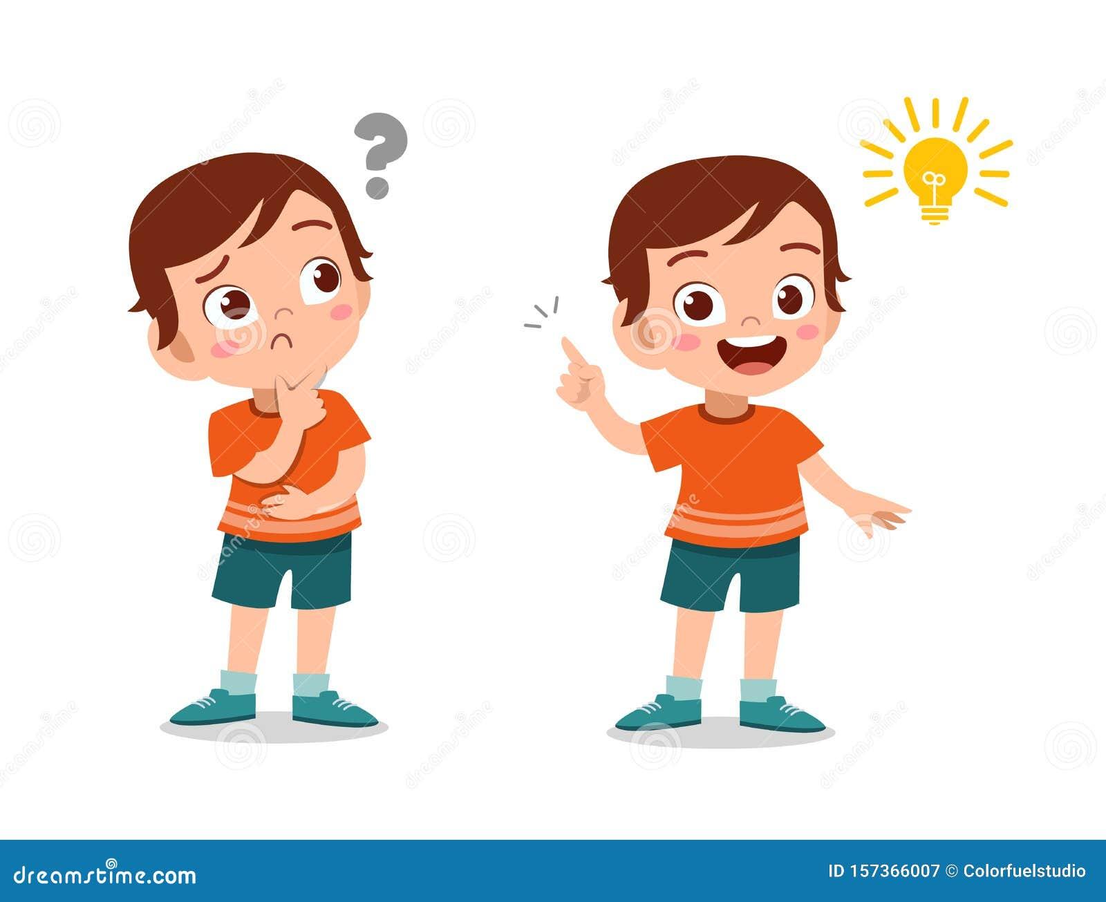 Kids Thinking Idea Vector Illustration Stock Illustration ...