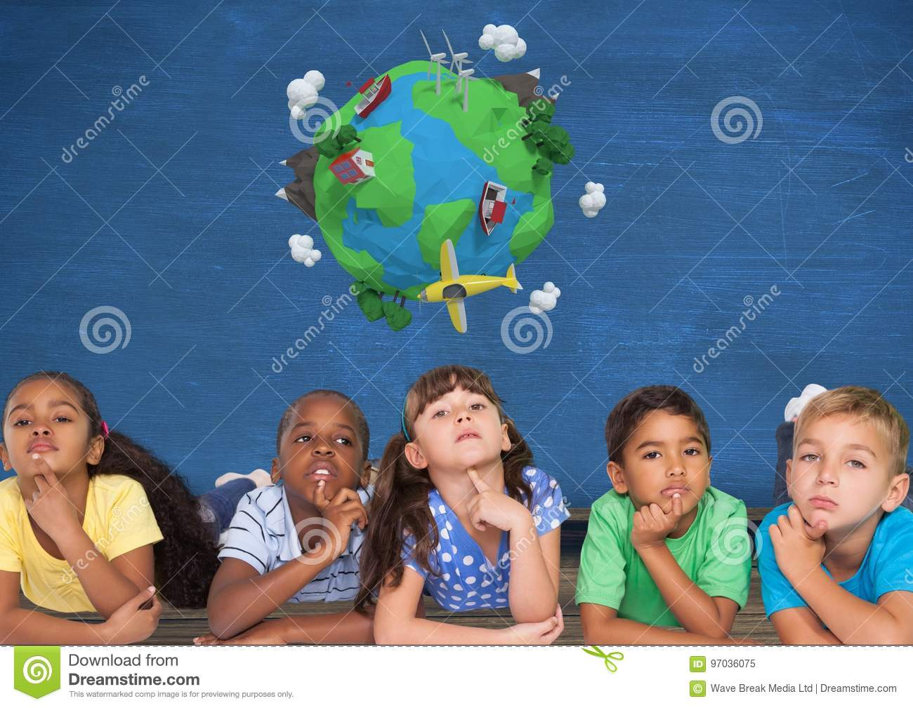 Kids thinking together and blue wall with planet earth world