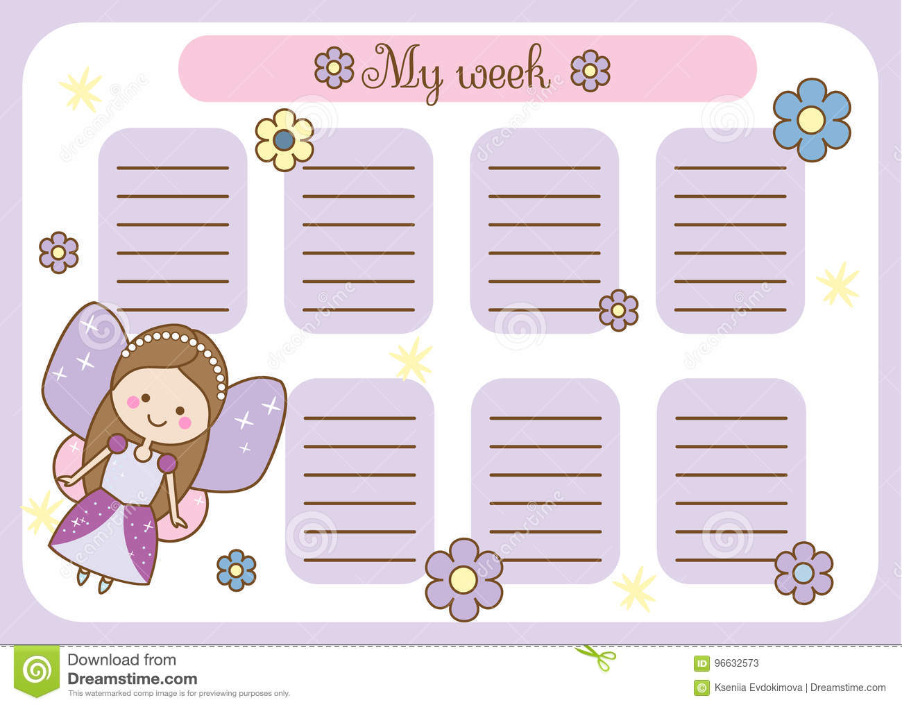 School timetable with kids cartoon vector cartoondealer for Free online table planner