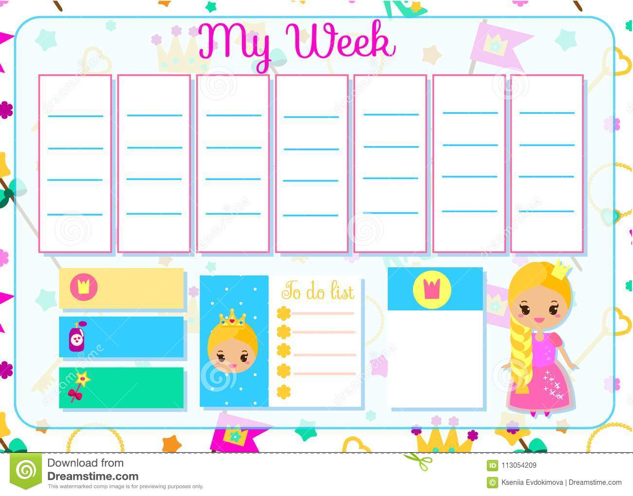 Kids timetable with cute princess weekly planner for for Kids weekly schedule template
