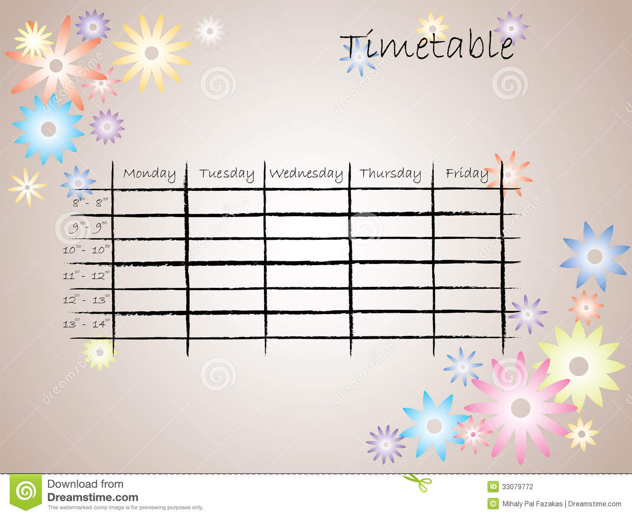 Kids timetable for school stock photography image 33079772 for Table no border