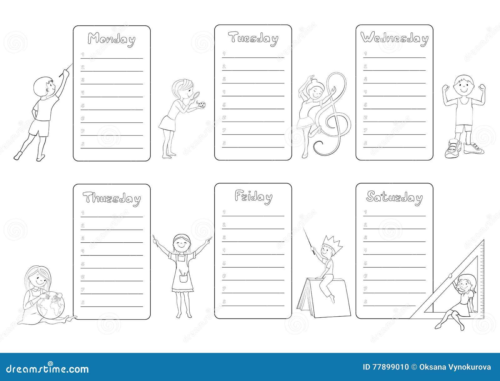 Timetable Weekly Schedule With Gerberas Vector Vector Illustration Cartoondealer Com