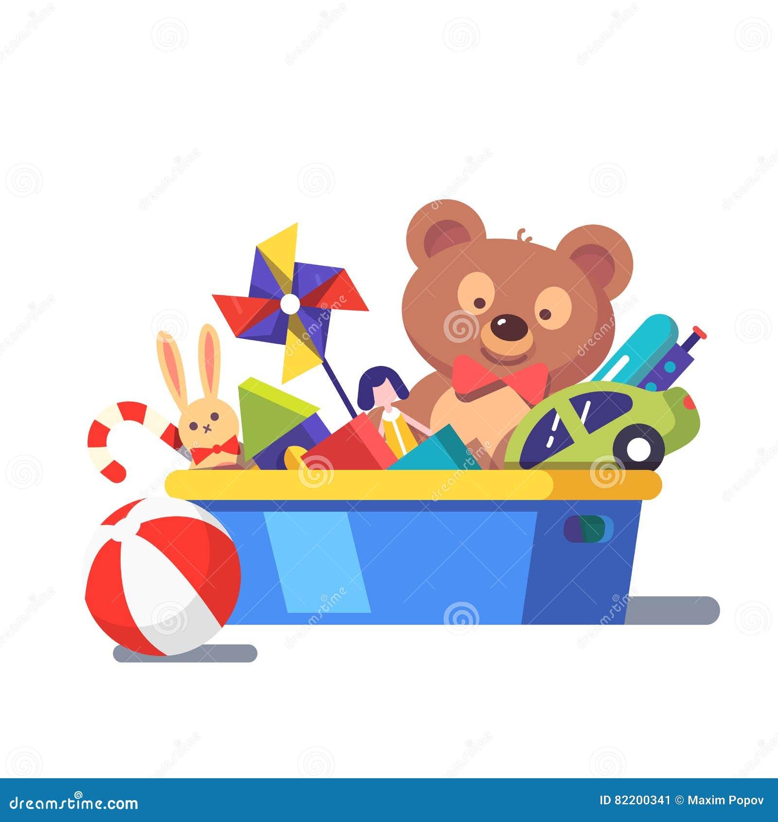 Line Art Cartoon Toys Vector : Kids toy box full of toys stock vector illustration