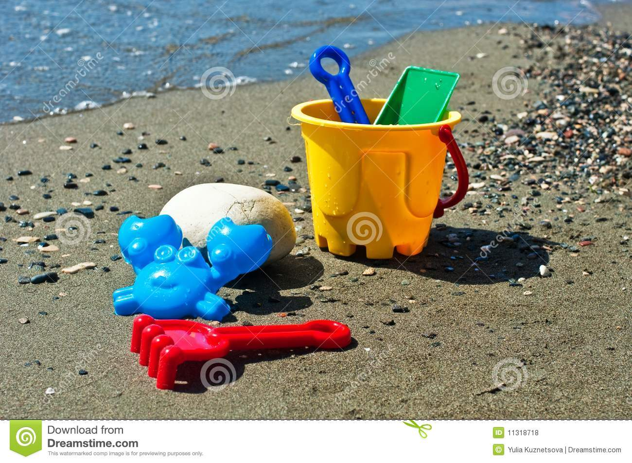 Toys For Beach : Kids toys on the beach stock photo image of water sand
