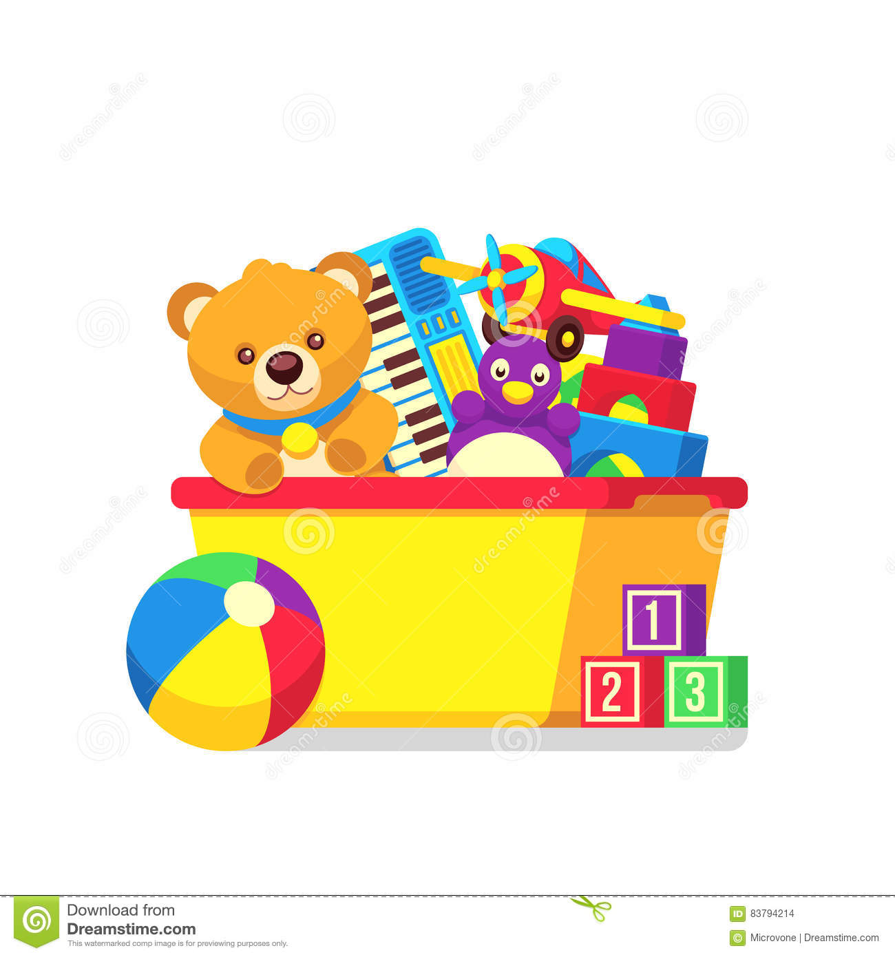 Kids Toys In Box Vector Clipart Stock Vector ...