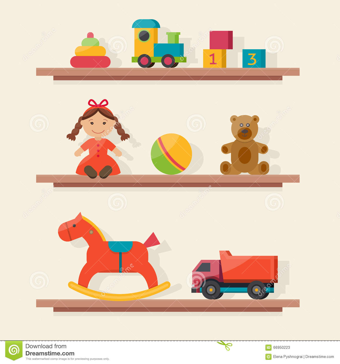 Kids Room Decoration Space Theme Vector Illustration: Kids Toys In Boxes. Stock Vector. Image Of Inside, Chairs