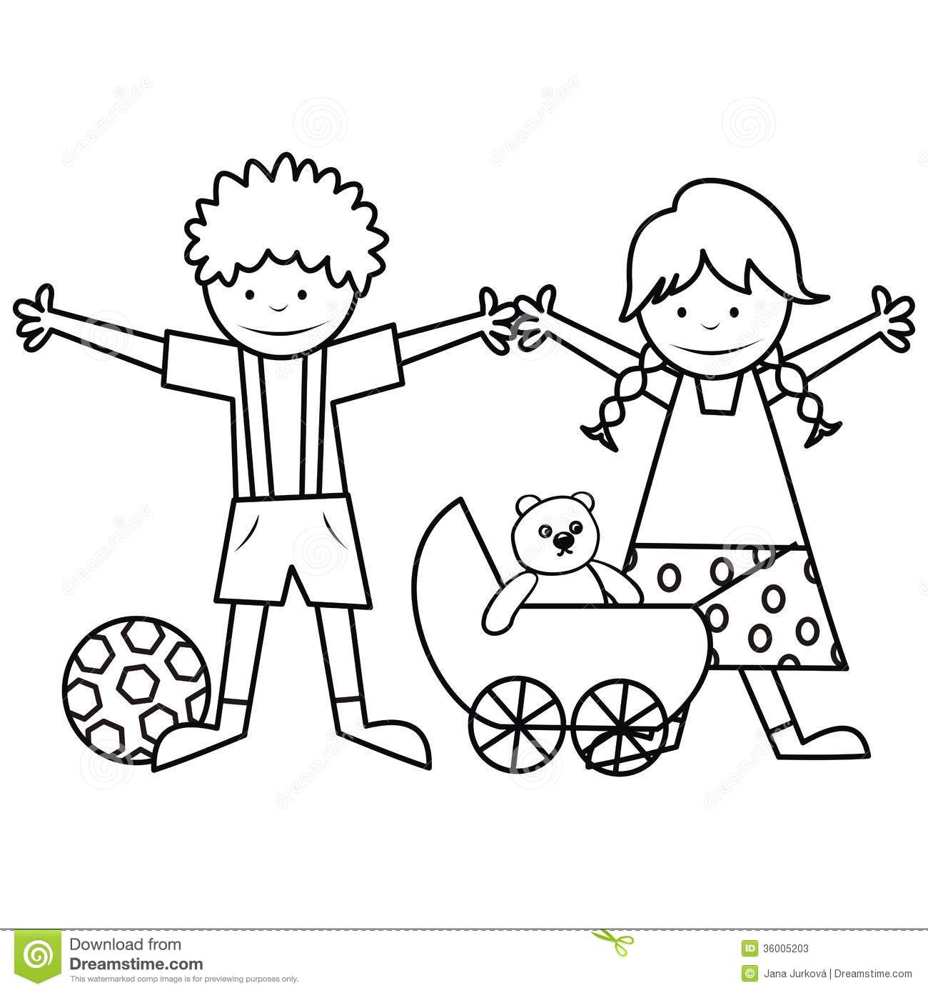 kids and toys coloring book stock vector illustration of kids