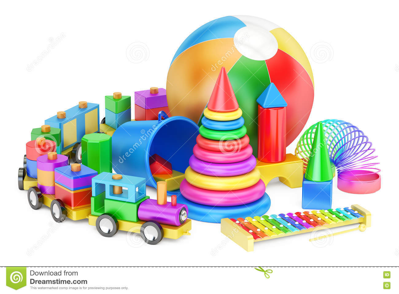 Kids toys concept, 3D rendering isolated on white background