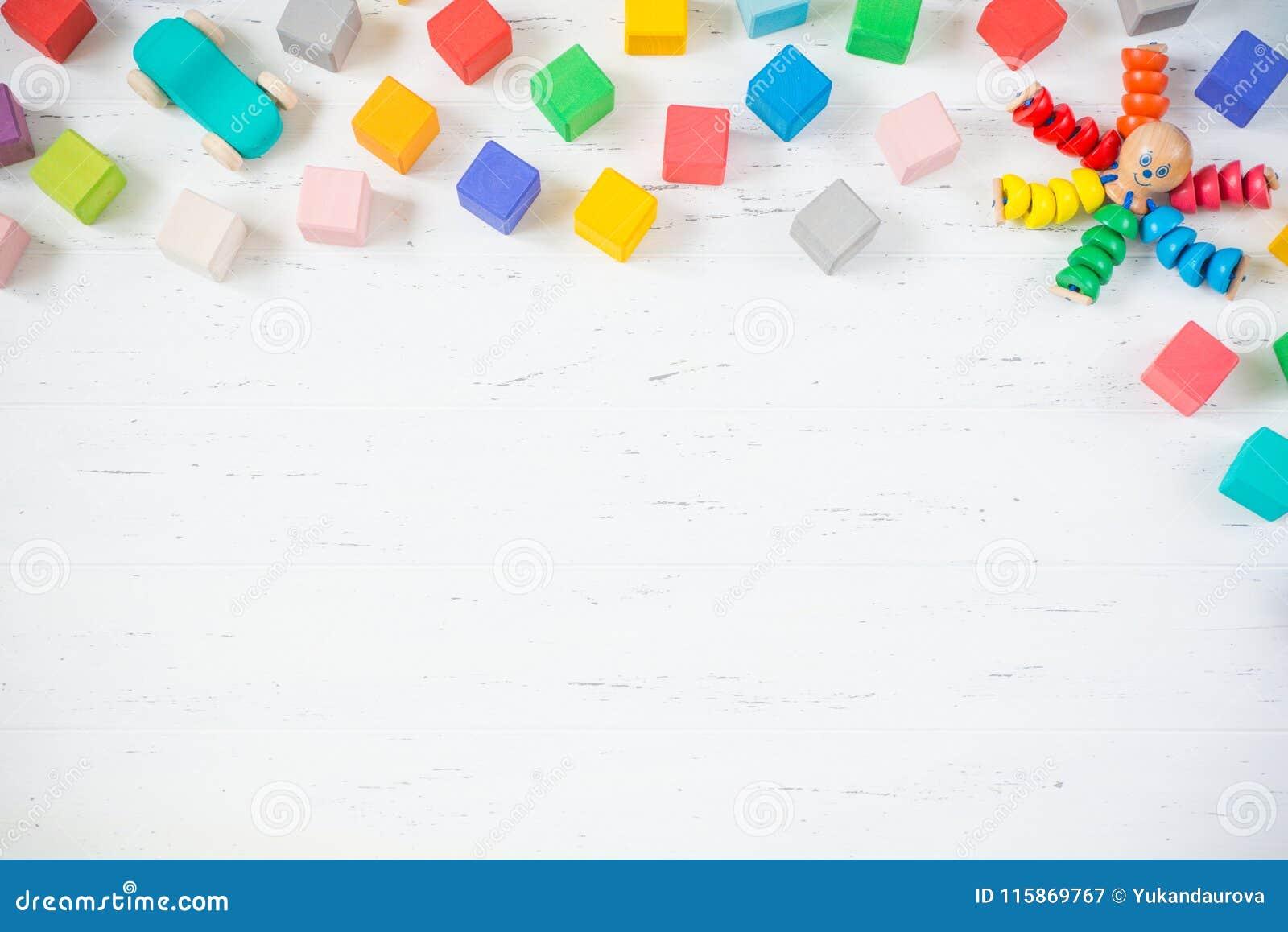 Kids Toys Frame Wooden Blocks, Octopus, Car On White Wooden ...