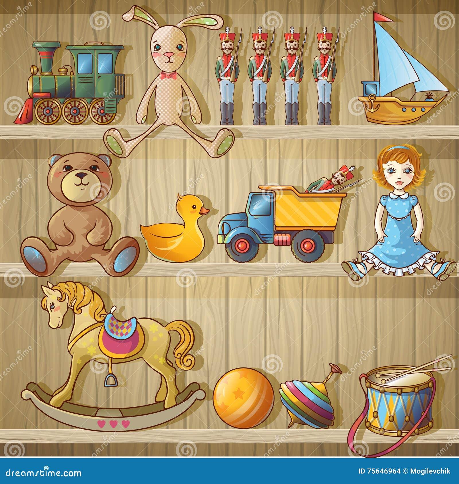 Kids Toys On Shelves Composition Stock Vector ...