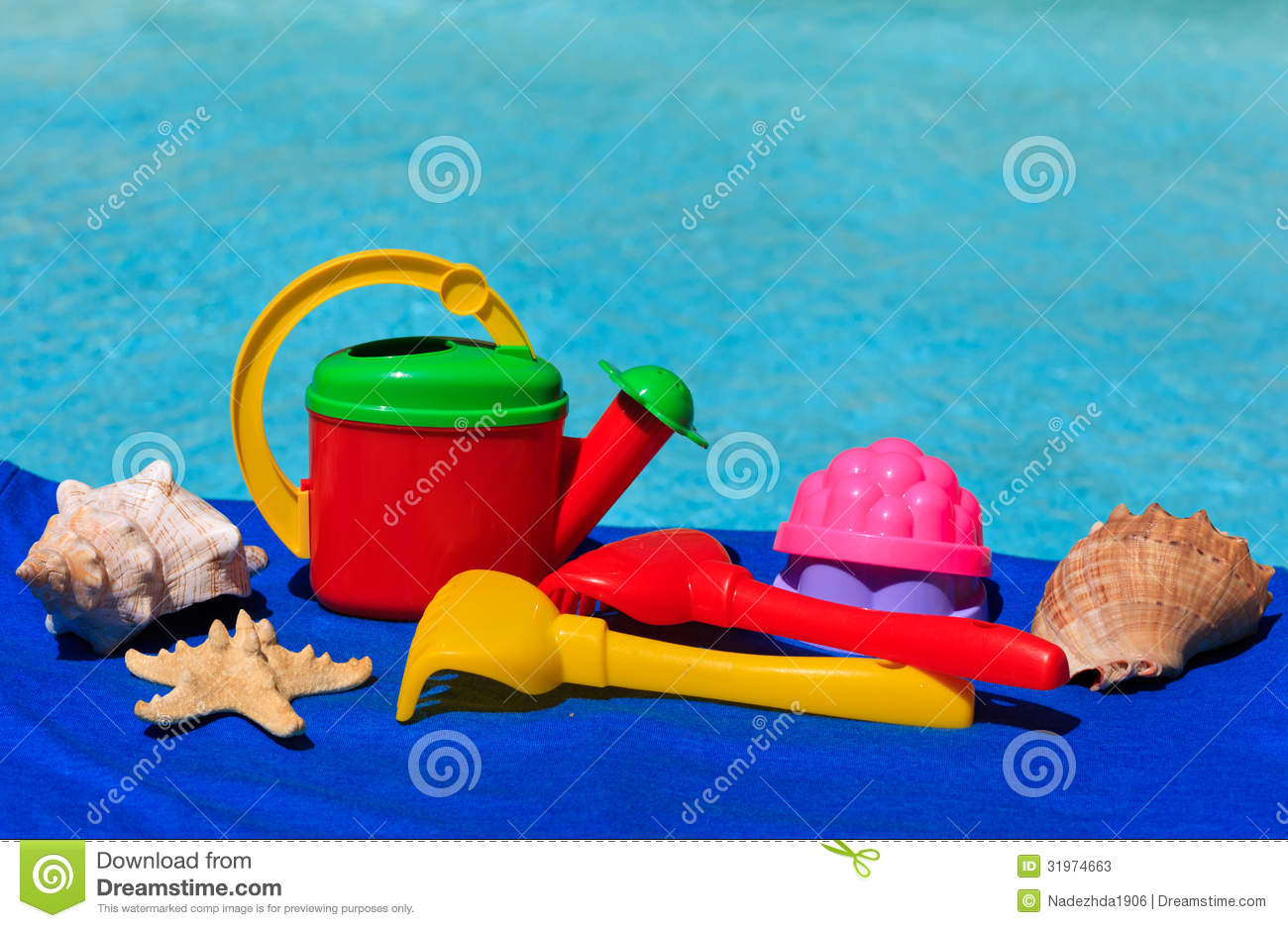 Kids Toys At The Swimming Pool Stock Photos Image 31974663