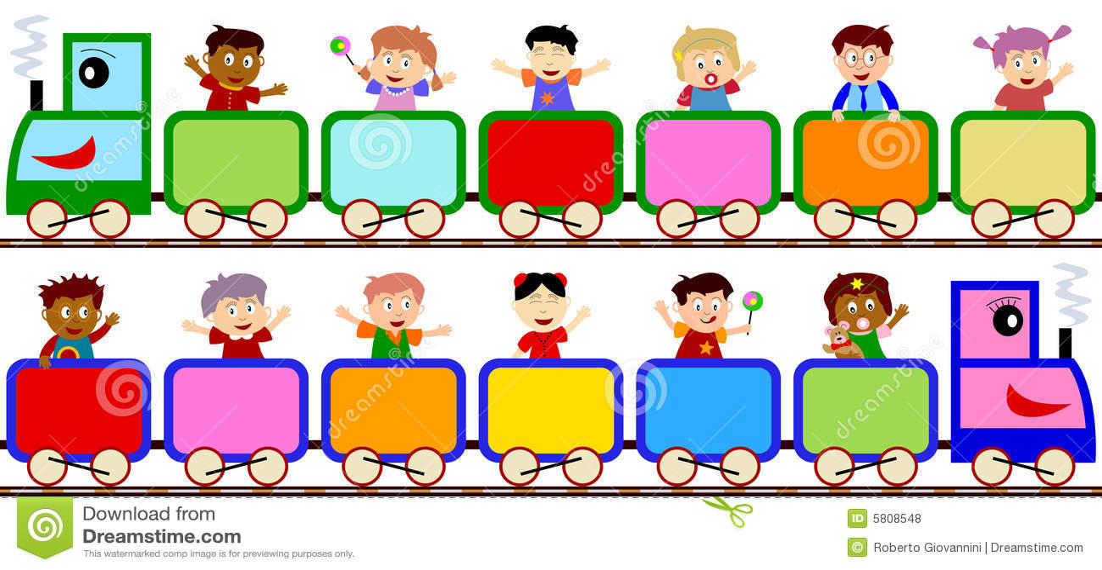 Kids on Train Banners