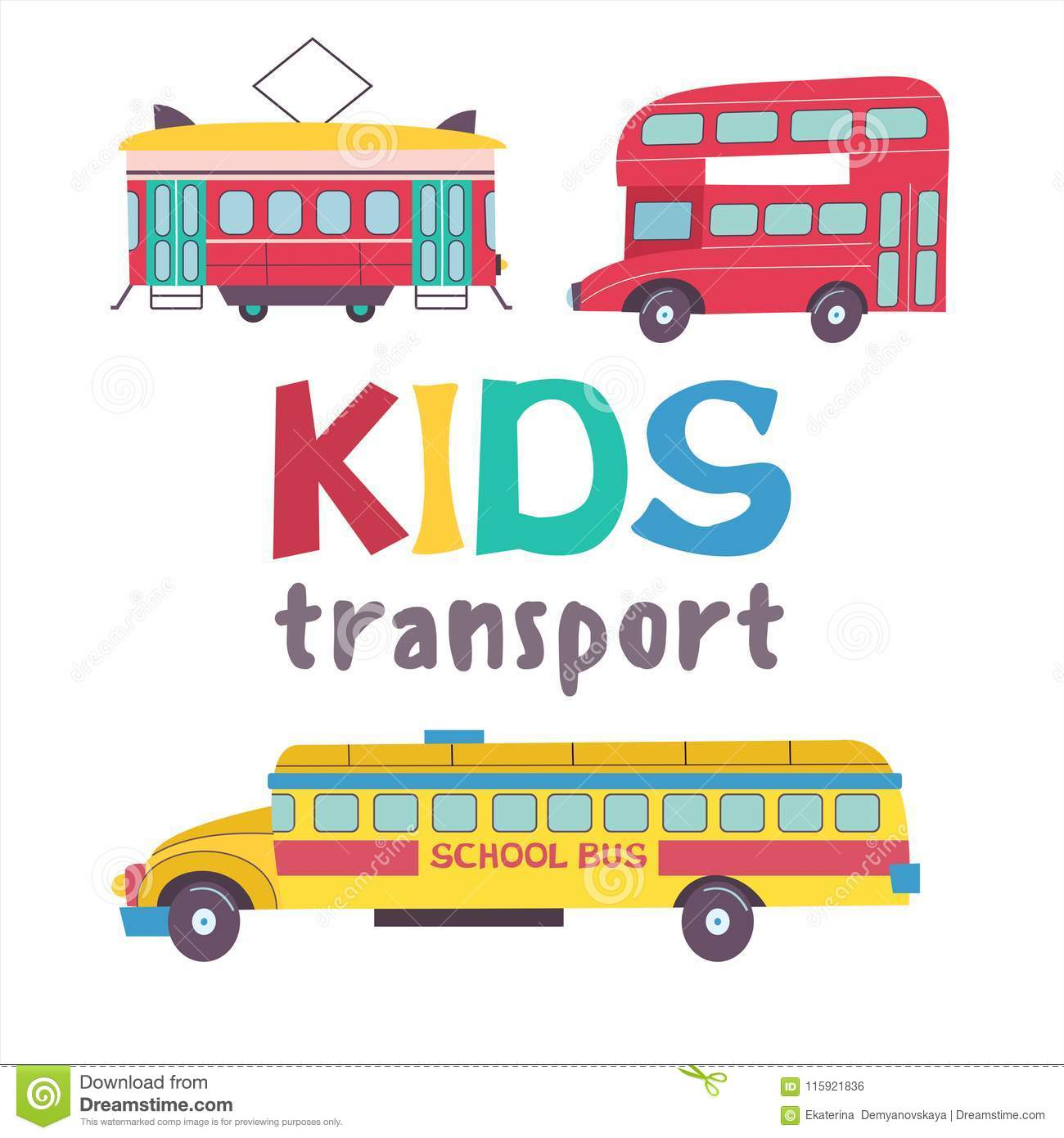 Kids transport collection stock vector  Illustration of