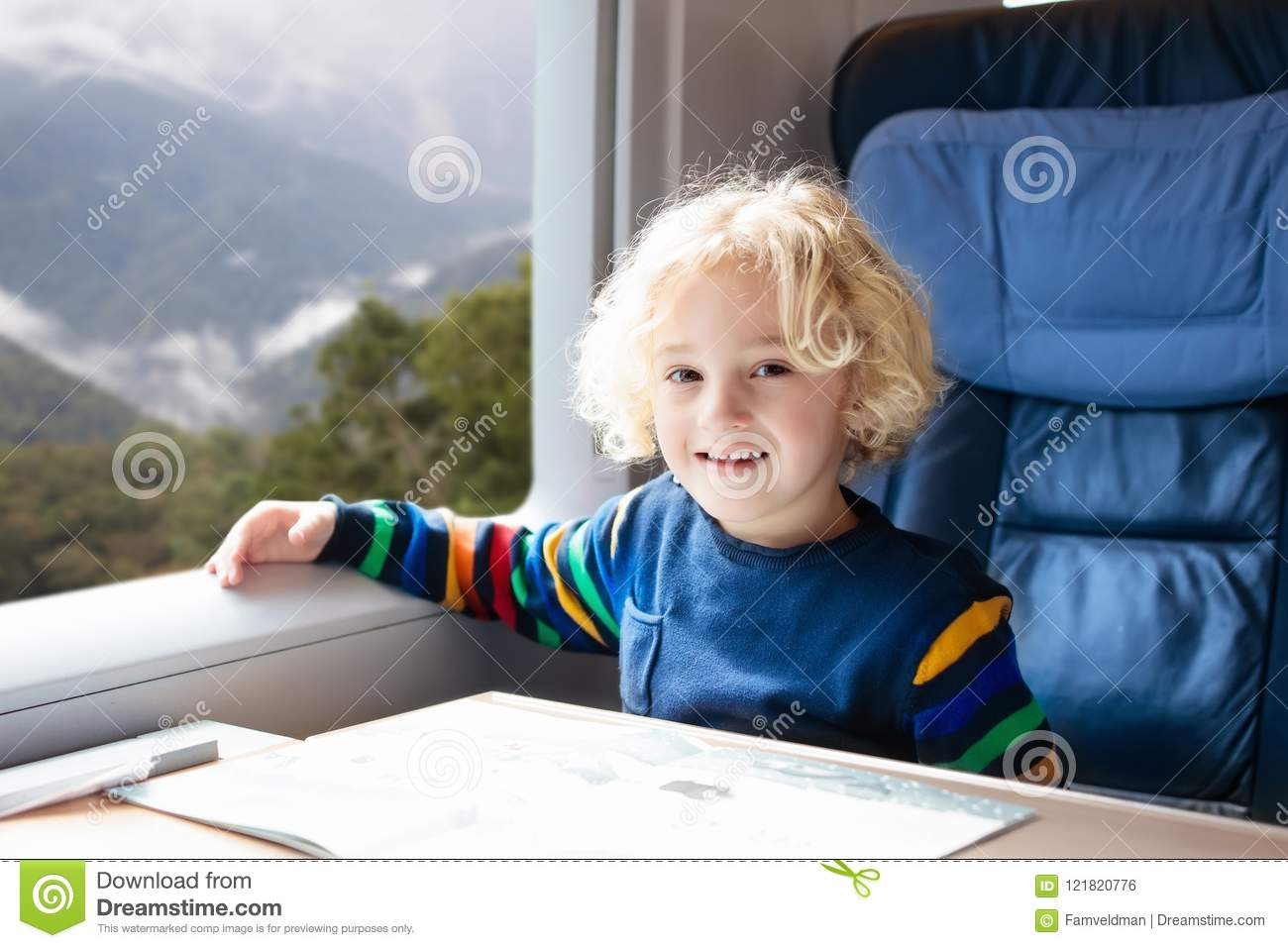 Kids Travel By Train Railway Trip With Child Stock Photo Image Of Book Toddler 121820776