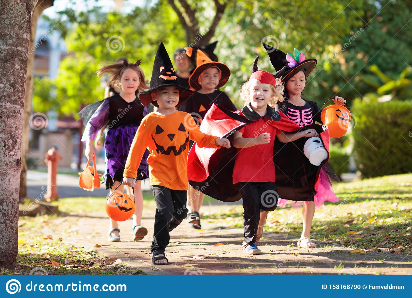 Kids trick or treat. Halloween fun for children
