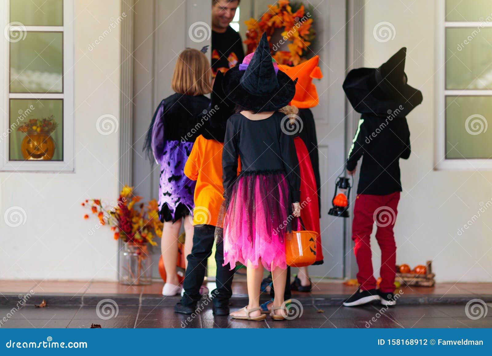 Kids Trick Treat Halloween Child At Door Stock