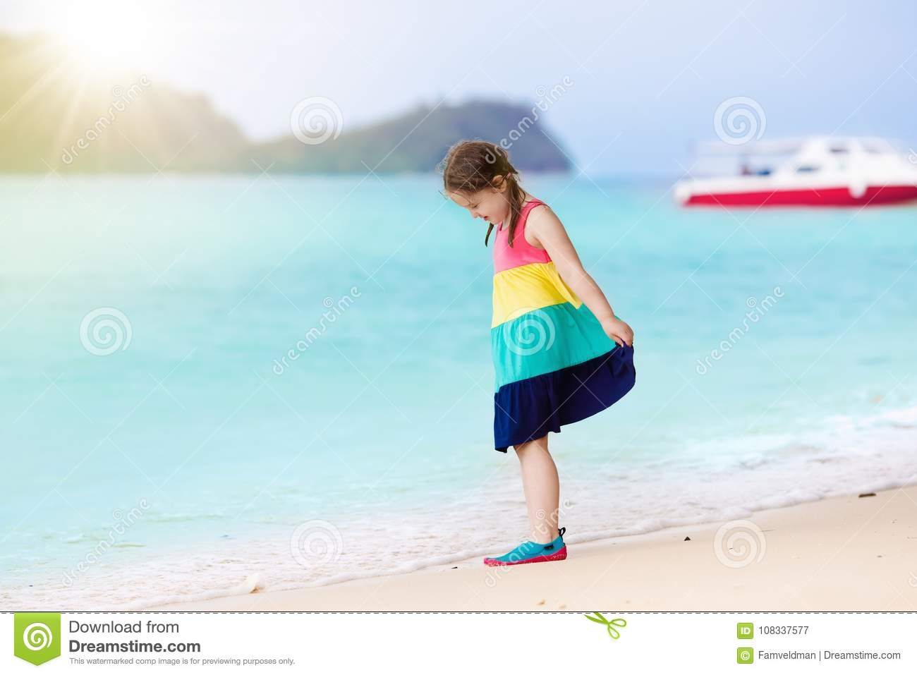 2cd8735d92 Kids On Tropical Beach. Children Playing At Sea. Stock Image - Image ...