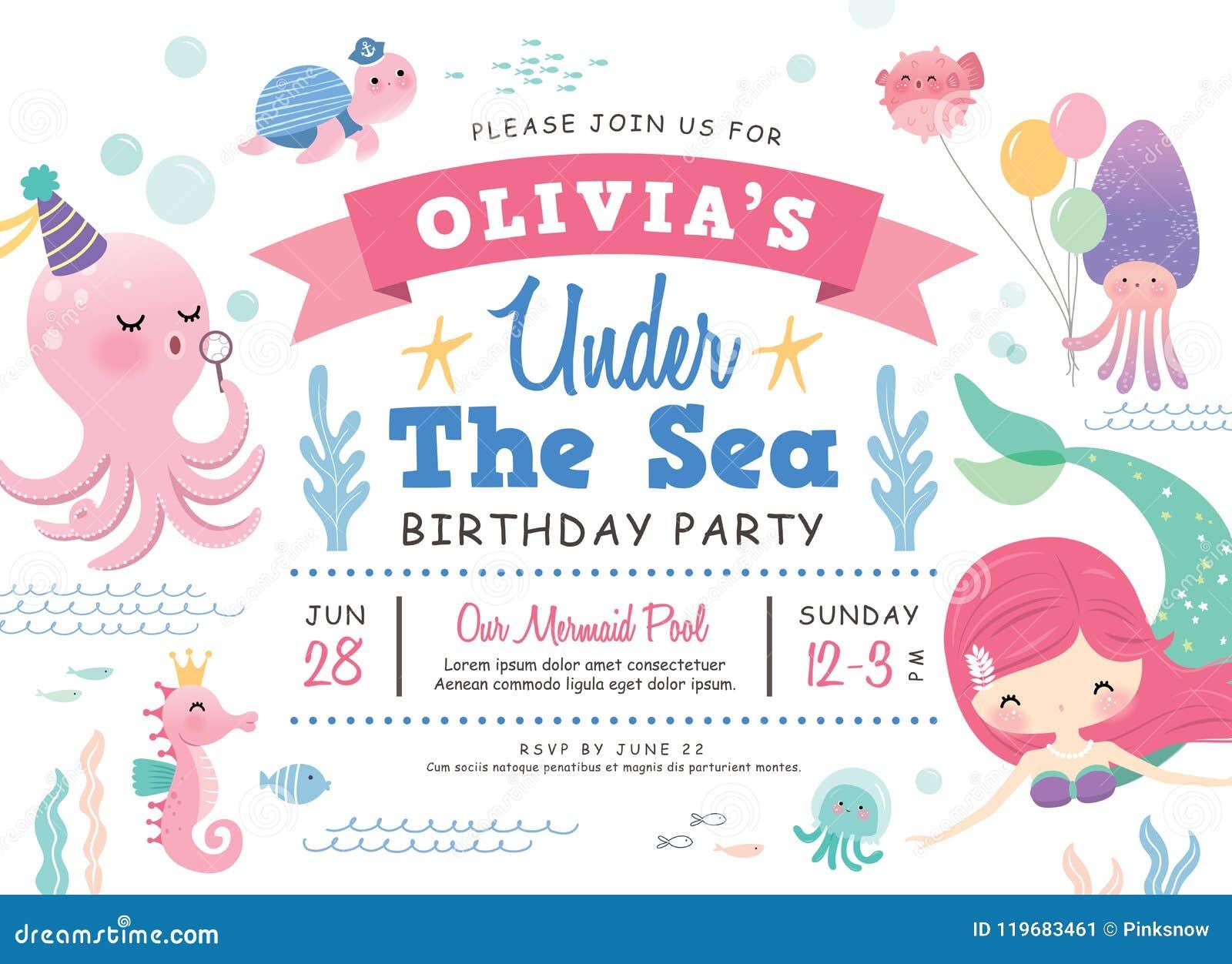 Kids Birthday Party Invitation Card Stock Vector Illustration Of