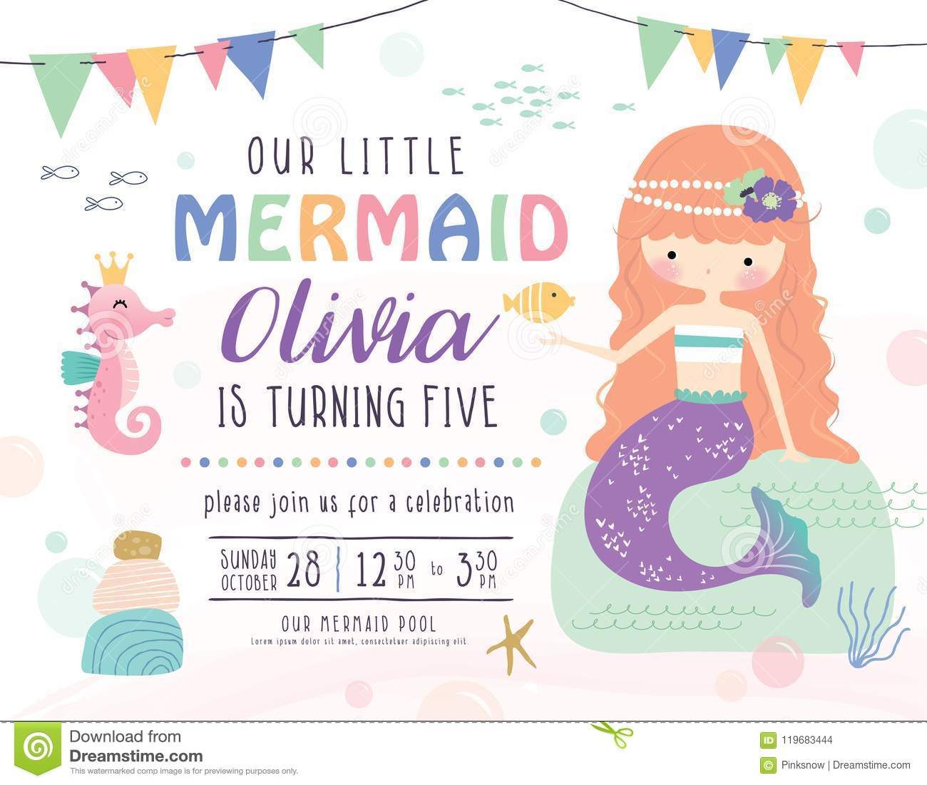 Kids Under The Sea Birthday Party Invitation Card Stock