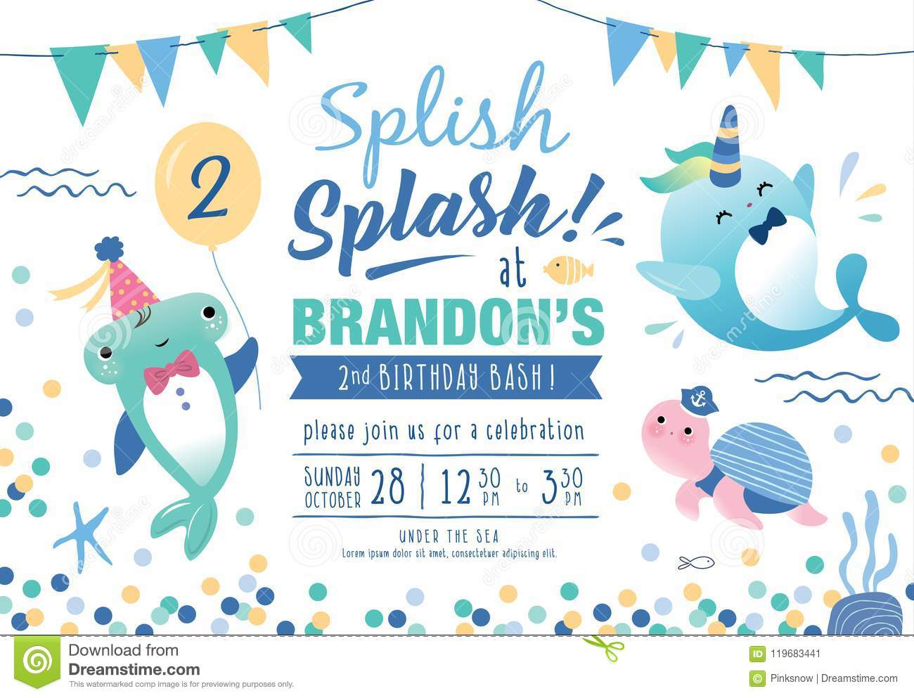 Kids Under The Sea Birthday Party Invitation Card Stock Vector ...